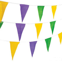 100 Ft Mardi Gras Plastic Pennant Banner Flags Party Event Purple Green Yellow