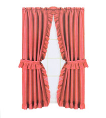 """Better Home Fabric Window Curtain 36"""" x 54"""" Red With Tie Backs and Hooks"""
