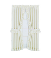 """Better Home Fabric Window Curtain 36"""" x 54"""" Ivory With Tie Backs and Hooks"""