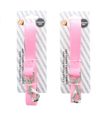 Lot of 2 Pink Nylon 5 Foot Dog Leashes Durable Double Padded Grip