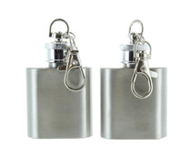 Lot of 2 Stainless Steel Mini Flasks Keychains Travel Drink