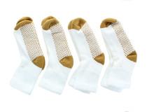 4 Pairs Dr. Scholl's Diabetic & Circulatory White W/Tan Crew Socks Men Sz 3-9