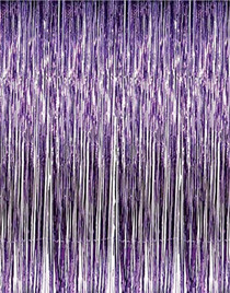 Purple Metallic Fringe Curtain Party Room Decoration 3' x 8'
