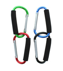 Lot of 4 Carrying Carabiners Jumbo Extra Large Spring Snap Hook Cushion Grip