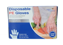 500 PCS Disposable PE Gloves Multi Purpose Powder Free