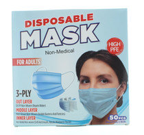 50 PCS Disposable Masks Non-Medical 3-Ply For Adults