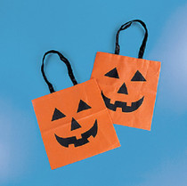 Lot of 12 Halloween Pumpkin Trick or Treat Tote Bags