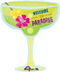 "XL 28"" Welcome To Paradise Margarita Super Shape Mylar Foil Balloon Decorations"