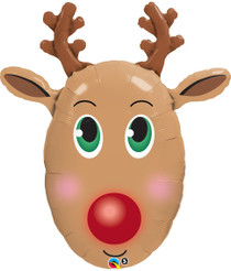 "XL 36"" Rudolph The Reindeer Christmas Mylar Foil Balloon Super Shape Party"