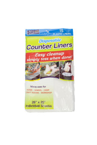 """15 Pack Disposable Counter Liners 26"""" x 26"""" Plastic Sheets Food Prep Time Saver"""