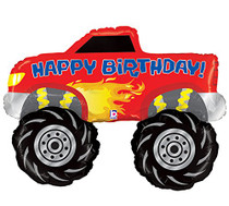 "40"" Happy Birthday Monster Truck Mylar Foil Balloon 4 x 4 Big Wheel Racing Party"