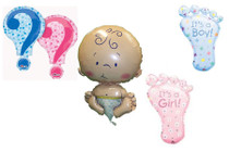 Gender Reveal Mylar Foil Balloons XL Set of 4 Girl Boy Baby Announcement Party