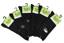 6 Pairs Black Bamboo Turn Cuff Womens Socks Anti Bacterial Tuff-Stuff Sz 9-11