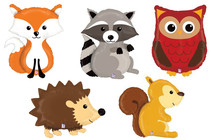 Set of 5 Woodland Animal Foil Mylar Balloons Forest Friends Lovable Critters