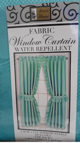 "Better Home Fabric Window Curtain 36"" x 54"" Turquoise With Tie Backs and Hooks"