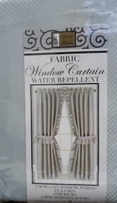 "Better Home Fabric Window Curtain 36"" x 54"" Gray With Tie Backs and Hooks"