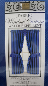 "Better Home Fabric Window Curtain 36"" x 54"" Blue With Tie Backs and Hooks"