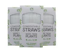 Lot of 300 Eco Friendly Compostable Straws BPA Free Flexible Bendable Drinks