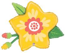 "XL 26"" Yellow Flower Mylar Foil Balloon Super Shape Party Decoration"
