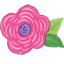 "XL 30"" Pink Flower Mylar Foil Balloon Super Shape Party Decoration"