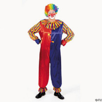 Polyester Colorful Adult Clown Costume Circus Party