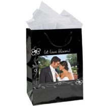 Lot of 12 Medium Black Wedding Favor Gift Bags With Picture Frame