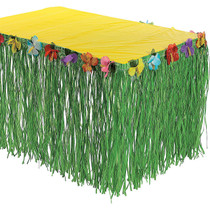 Hawaiian Hibiscus Flower & Green Grass Table Skirt 9'