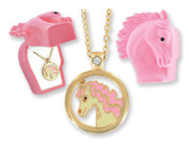 Crystal Horse Necklace With Pony Velour Hinged Gift Box