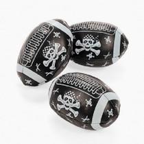 "Lot of 12 Mini Foam 4"" Pirate Footballs Skull & Crossbones Party Favors"