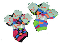Lot of 6 Pairs Eros Neon Patterns Womens Low Cut Socks Size 9-11