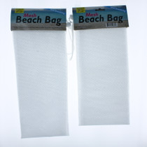 Lot of 2 White Mesh Beach Bag With Drawstring Party Favors