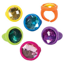 Lot of 24 Assorted Bright Color Rubber Jewel Rings Party Favors