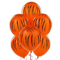"6 Tiger Print 11"" Latex Balloons Qualatex Black & Orange Jungle Safari Party"