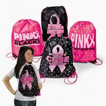 Lot of 12 Pink Ribbon Breast Cancer Awareness Drawstring Backpacks