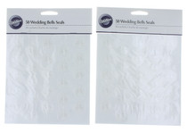 100 Wilton Embossed Wedding Bells White Invitation Thank you Envelope Seals