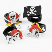 Lot of 12 Rubber Pirate Rings Skull & Crossbones Party Favors