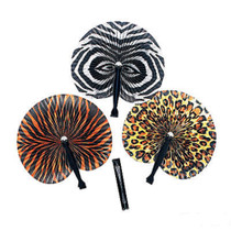 Lot of 12 Jungle Safari Print Paper Fans Party Favors