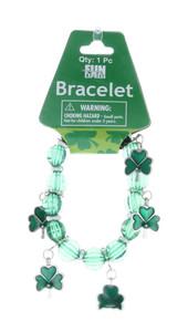 12 Green Shamrock Enamel Charm Bracelets St Patrick's Day Party Favors