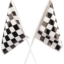 Plastic Black and White Checkered Flags - 48 Count