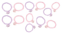 12 Princess Beaded Stretch Bracelet Girls Pink Party Favors Kids Jewelry