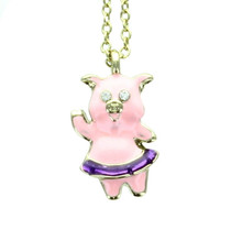 Pink Pig Crystal Necklace With Velour Hinged Gift Box