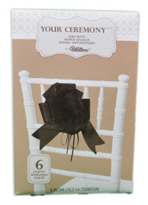 Lot of 6 Wilton Wedding Black Pull Bows Pew Aisle Chair Decoration