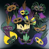 12 Feather Mardi Gras Masks Costume Party Masquarade