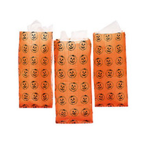 Lot of 12 Frosted Pumpkin Orange Treat Bags Party Candy