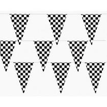 Black & White Checkered Flag Pennant Banner - 100 ft.