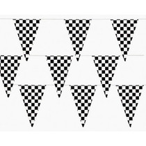 Black & White Checkered Flag Pennant Banner - 100 ft.