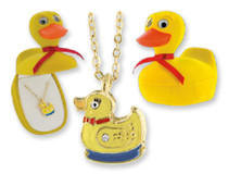 Duck Crystal Necklace Pendant Velour Hinged Gift Box