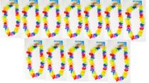 12 Rainbow Flower Leis Luau HawaiianTropical Party Favor Necklace LU-RBFLE
