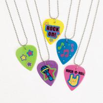Lot of 12 Plastic Guitar Pick Necklaces Party Favors