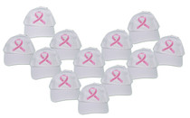 White & Pink Ribbon Embroidered  Breast Cancer Awareness Baseball Hat Lot of 12